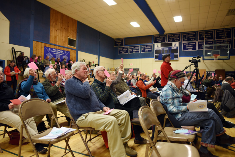 Bristol residents vote during the annual town meeting at Bristol Consolidated School Tuesday, March 21. (Jessica Picard photo)