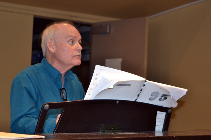 """""""9 to 5"""" music director John Mulcahy leads a rehearsal on Sunday, March 25 in the Porter Meeting Hall at Skidompha Library. (Christine LaPado-Breglia photo)"""
