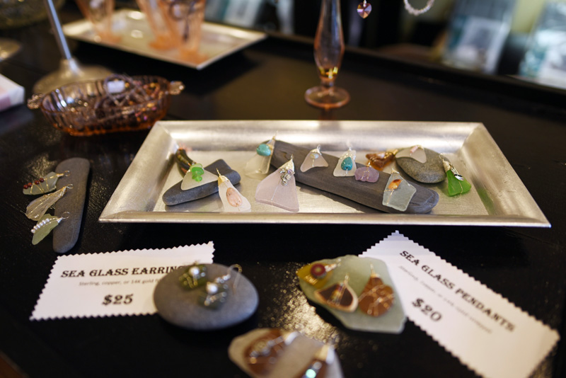 A seaglass pendant display at ABOCA Beads on Monday, Feb. 26. (Jessica Picard photo)