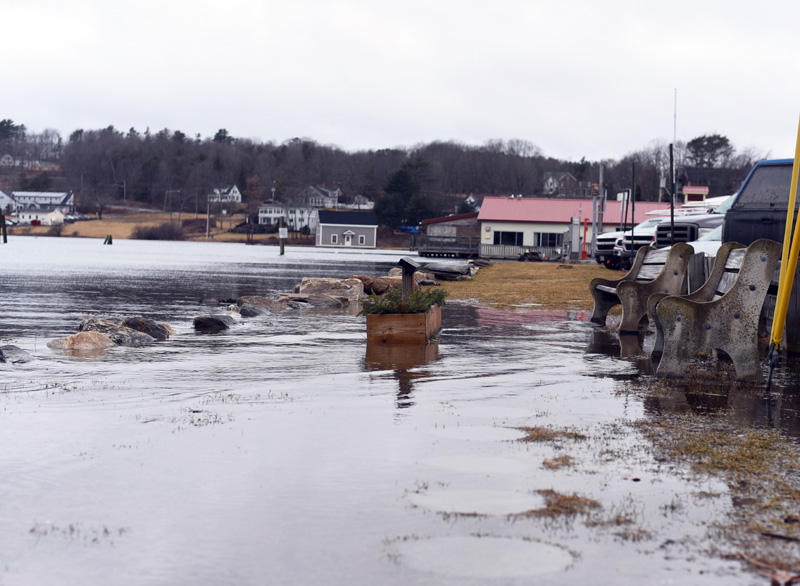 The Damariscotta River rises over Riverside Park in downtown Damariscotta at high tide Friday, March 2. (Jessica Picard photo)