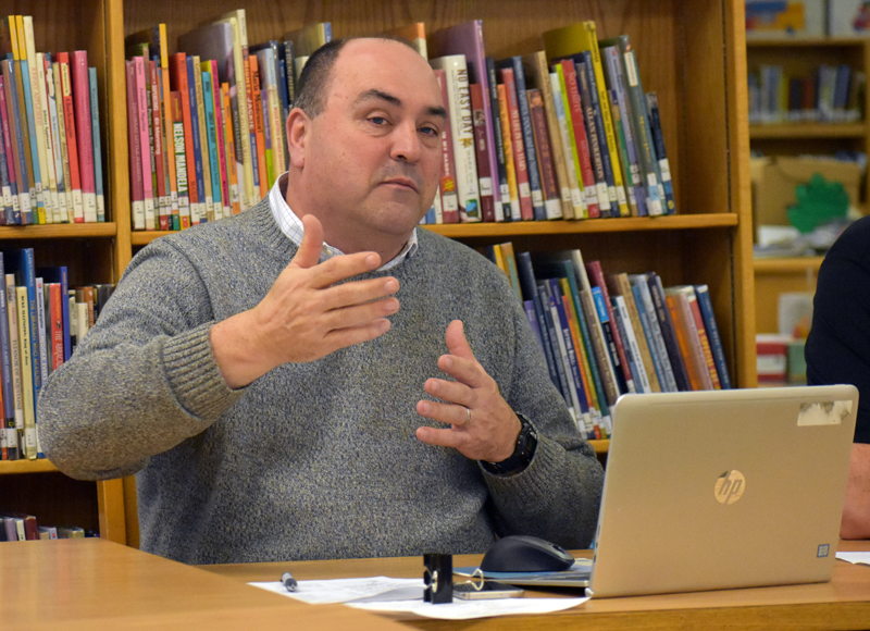 AOS 93 interim Superintendent Jim Hodgkin proposes ways the school district could share the results of its survey about Lincoln Academy with the LA Board of Trustees and the public. (Alexander Violo photo)