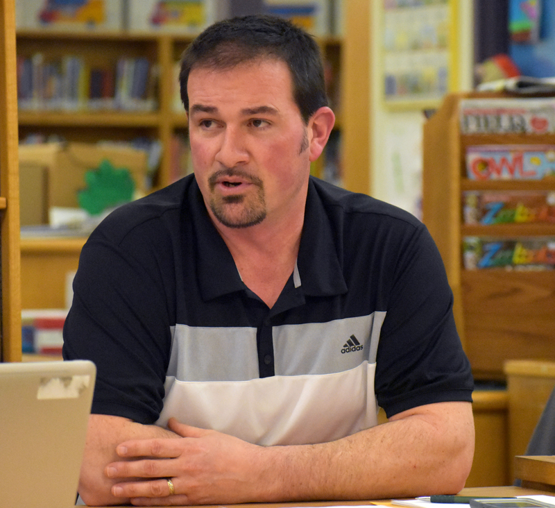 AOS 93 Board Chair Joshua Hatch, of Nobleboro, discusses his desire to work with the Lincoln Academy Board of Trustees to discuss and address the results of the school district's survey about LA. (Alexander Violo photo)