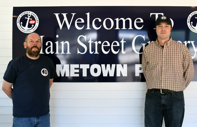 Rick Gaeth (left) is the new grocery manager and Rob Kapuscinski the new meat manager at Main Street Grocery in Damariscotta.