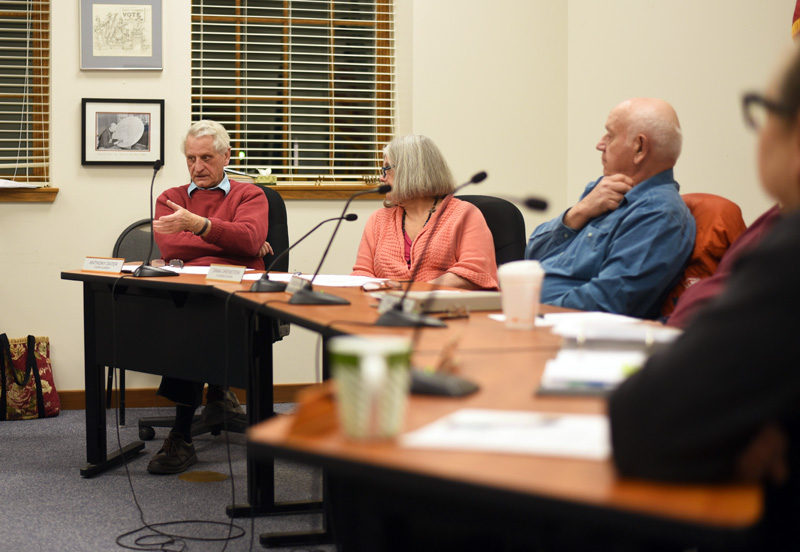 Town Planner Tony Dater (left) speaks during the Damariscotta Planning Board meeting Monday, March 5. (Jessica Picard photo)