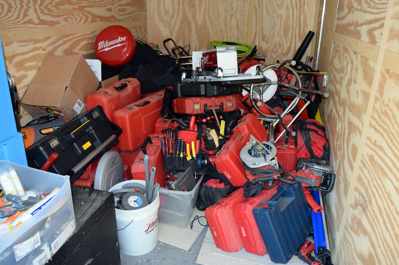 A trailer contains cases of Milwaukee tools and other brand-name power tools seized Aug. 22, 2016 in the course of an investigation into thefts from Damariscotta Hardware and Randolph Hardware. (J.W. Oliver photo, LCN file)