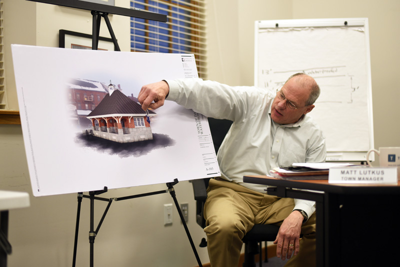 Damariscotta Town Manager Matt Lutkus goes over the plan for the downtown restrooms at the Damariscotta Board of Selectmen's meeting Wednesday, March 7. (Jessica Picard photo)