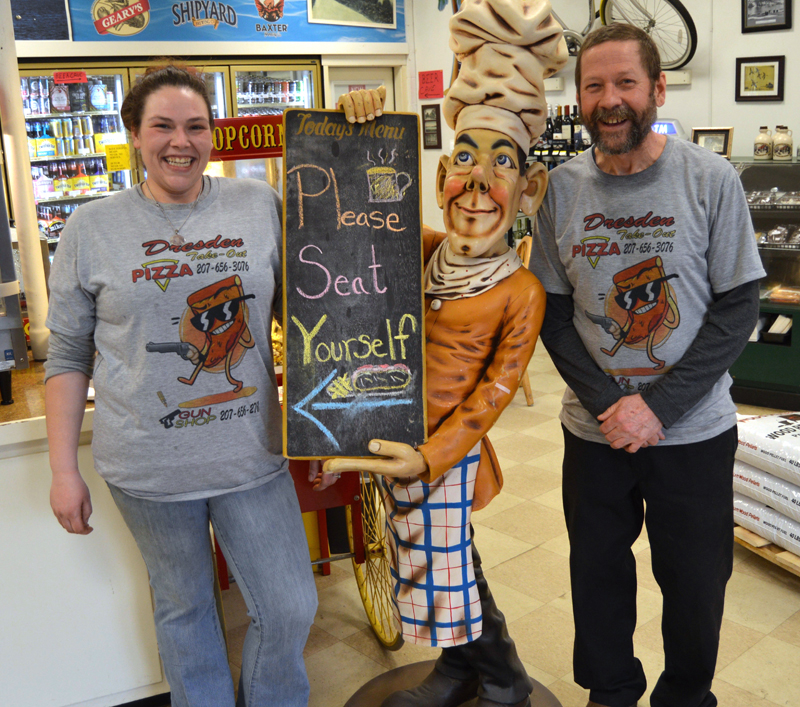 Dresden Take Out staffers Catherine Lilly and Michael Cowing greet customers. (Greg Foster photo)