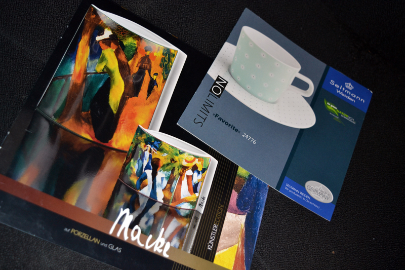 A couple of the many colorful promotional pamphlets available at Seltmann Weiden porcelain factory in Weiden, Germany. (Christine LaPado-Breglia photo)