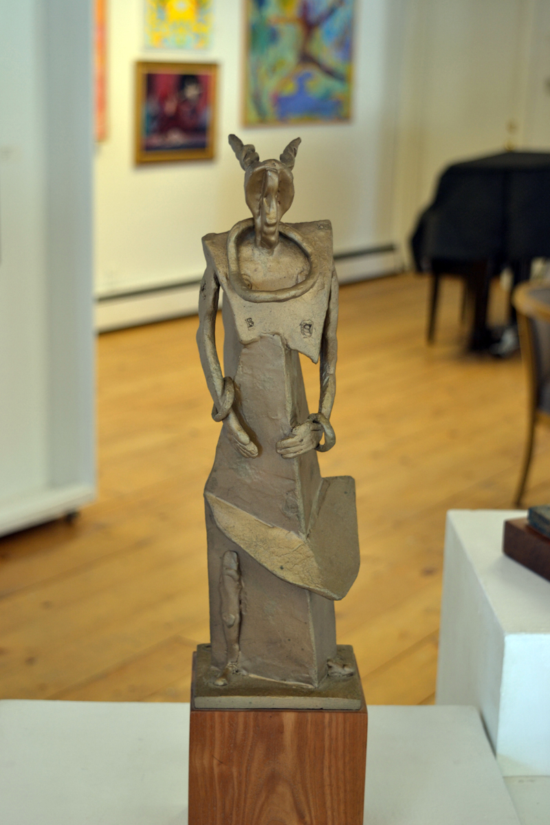 """""""Woman with Bracelets & Torque,"""" a cast bronze sculpture by Edgecomb artist John Lorence, stands tall at the """"Figures & Sculpture"""" show currently running at River Arts in Damariscotta. (Christine LaPado-Breglia photo)"""