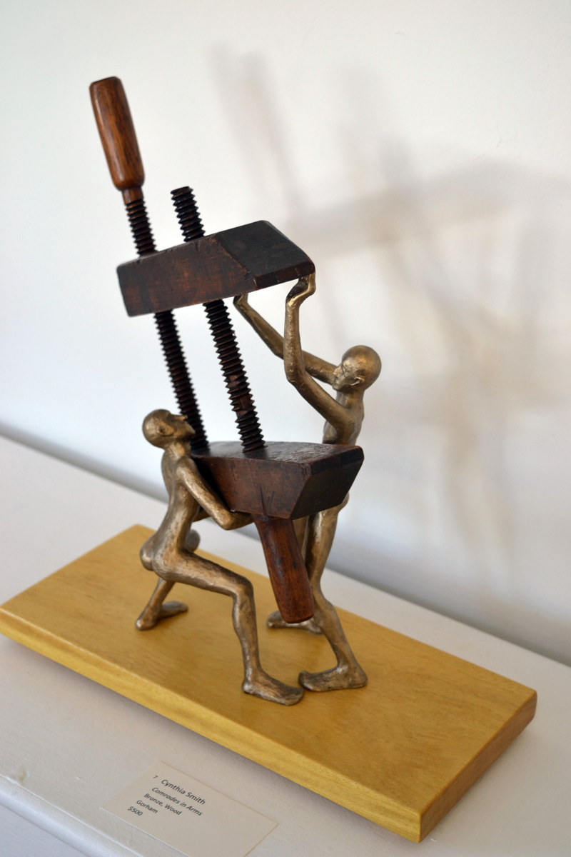 "Gorham artist Cynthia Smith's playful ""Comrades in Arms,"" a sculpture made from bronze and wood. (Christine LaPado-Breglia photo)"