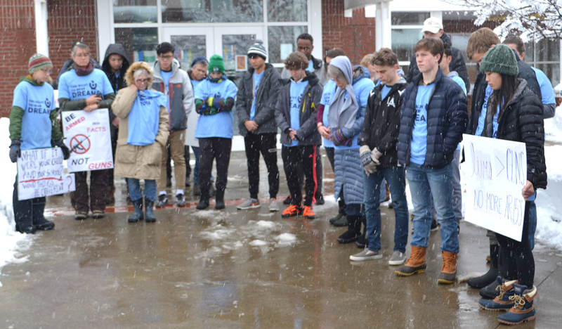 Community members and Lincoln Academy students participate in 17 minutes of silent protest in remembrance of the 17 individuals killed in the shooting at Marjory Stoneman Douglas High School in Parkland, Fla. (Maia Zewert photo)