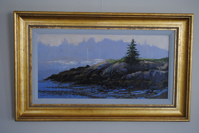 One can view the PWA collection of art for sale, including this beautiful framed and signed original acrylic painting of a harbor scene by New Harbor's Ron Fletcher.