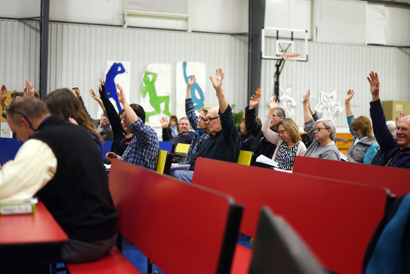 South Bristol residents vote during the annual town meeting at South Bristol School on Wednesday, March 14. (Jessica Picard photo)