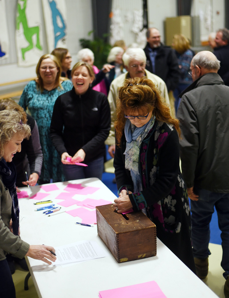 South Bristol residents cast their ballots during the annual town meeting at South Bristol School on Wednesday, March 14. (Jessica Picard photo)