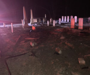 Rollover Damages Fence, Headstones at St. Denis Cemetery