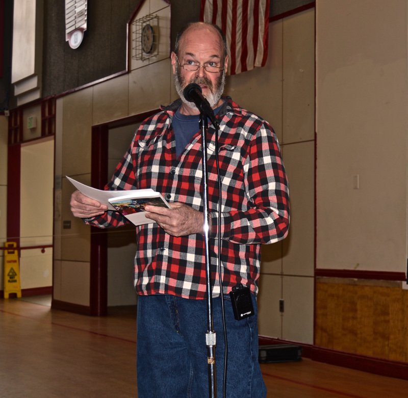 Whitefield Fire Chief Scott Higgins explains an increase in the fire department's budget during annual town meeting Saturday, March 17. (Greg Foster photo)