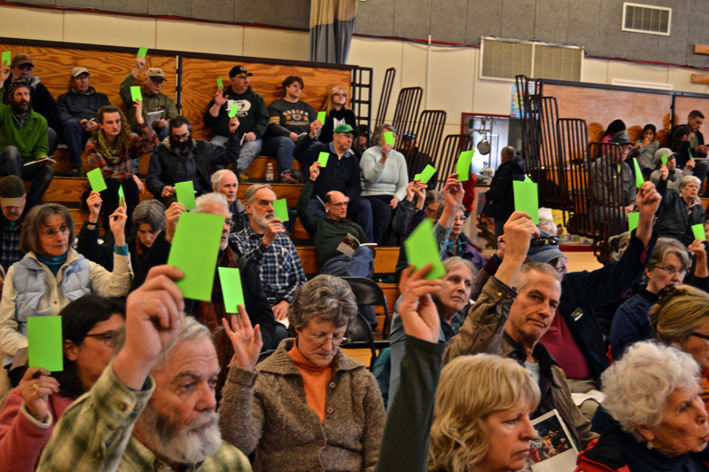 A majority of voters pass an article during Whitefield's annual town meeting in the Whitefield Elementary School gymnasium Saturday, March 17. (Greg Foster photo)