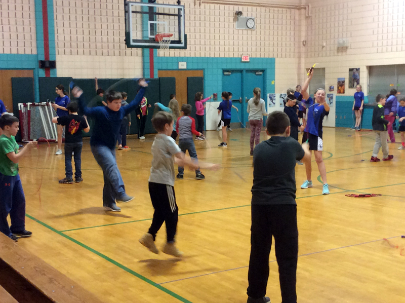 The Bristol Consolidated School jump rope team offered a demonstration for students at Nobleboro Central School on March 20. NCS children later learned new skills from the team and coach Chris Perry.