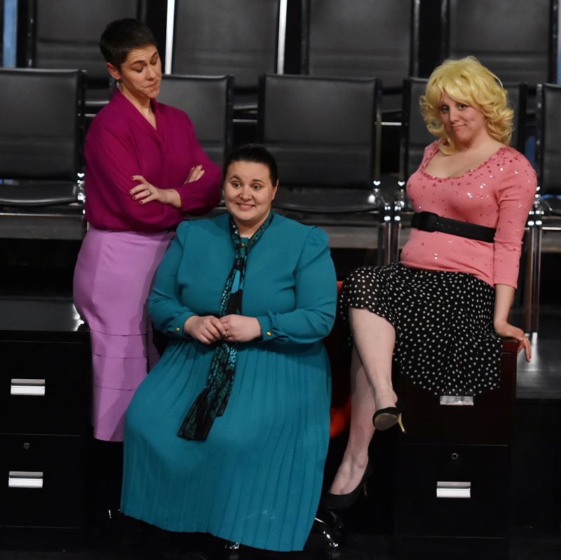 "From left: Victoria Hamilton, Emily Mirabile, and Kristen Robinson star in ""9 to 5: The Musical."" (Photo courtesy Sherrie Tucker)"