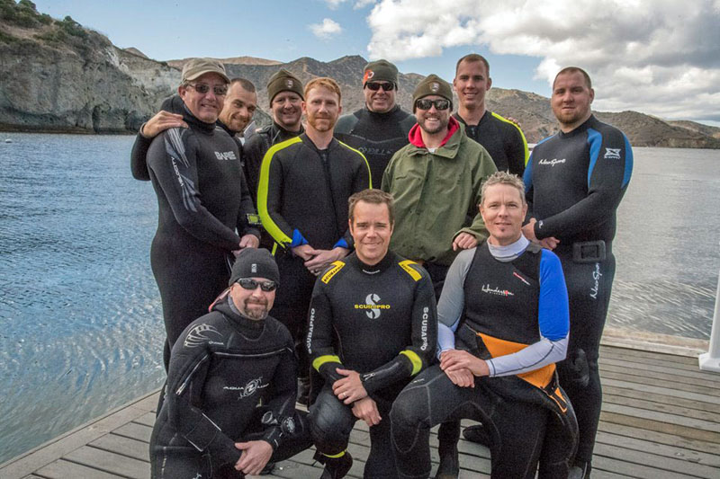 Christopher Rigaud (bottom left), of the University of Maine's Darling Marine Center, on assignment with staff of and participants in the 2018 National Park Service Dive Leadership Course.