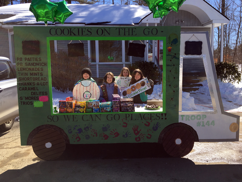 The Girl Scout Troop No. 144 cookie booth.