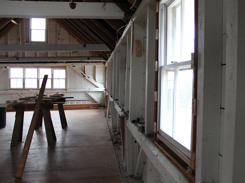 Interior demolition at DRA's Round Top Farm has exposed the side walls of the barn which, without proper bracing, lean at various angles. This and other structural defects and damage has made it necessary to remove the barn altogether and construct a new addition.