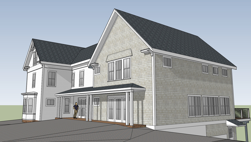 A sketch by 44º North Architects projecting how the Round Top Farmhouse will look when work is complete.