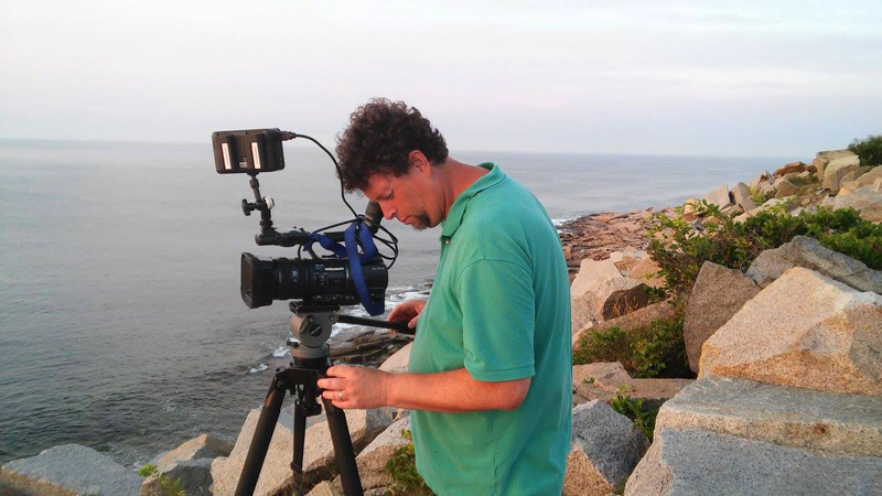 "Filmmaker David Wittkower at work on ""Dead in the Water,"" his new documentary film on New England's fishing industry. (Photo courtesy David Wittkower)"