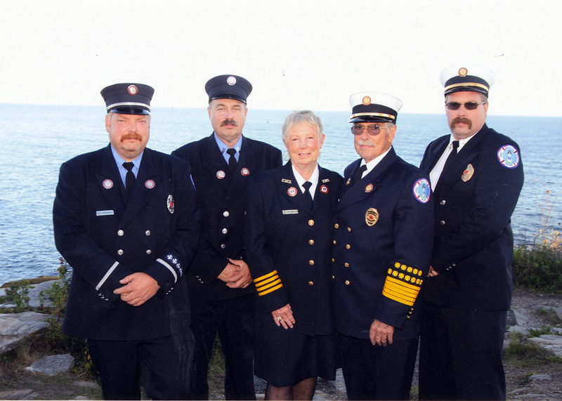The Pendleton family's history of service to Bristol Fire and Rescue dates back to the department's first days. From left: Brad, Scott, Jeri, Ron, and Jared Pendleton. (Photo courtesy Ron and Jeri Pendleton)