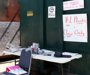 A display at the Nobleboro-Jefferson Transfer Station provides examples of which #1 plastics it accepts for recycling and which it does not. (Jessica Picard photo)
