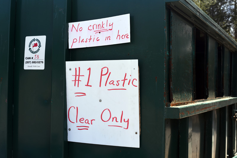 A sign on a recycling container at the Nobleboro-Jefferson Transfer Station directs station users to place only clear #1 plastic in the container. (Jessica Picard photo)