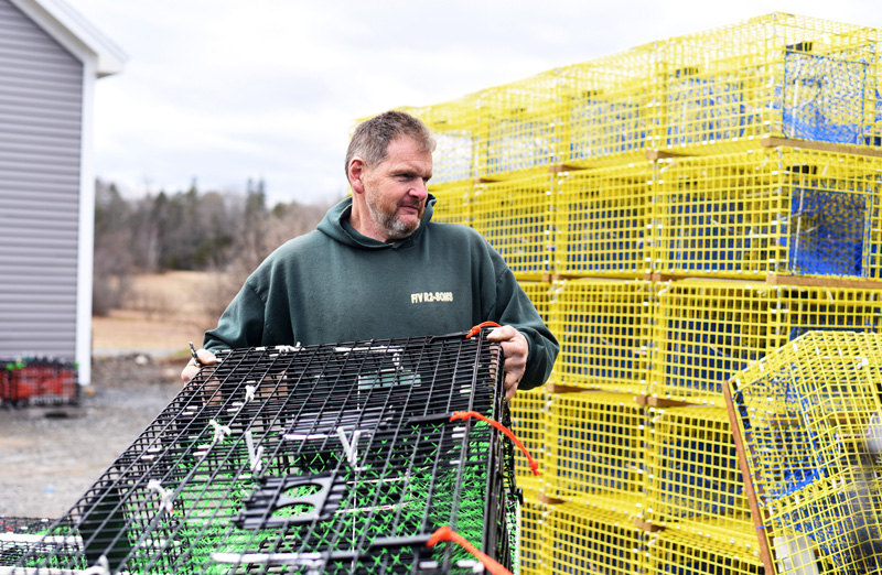 Mike Prior, manager of Sea Rose Trap Co.'s new Bristol location, works on lobster traps Wednesday, April 18. (Jessica Picard photo)