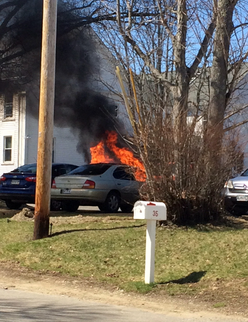 A car in flames on Hodgdon Street in Damariscotta on Monday, April 23. (Photo courtesy Mark Bailey)
