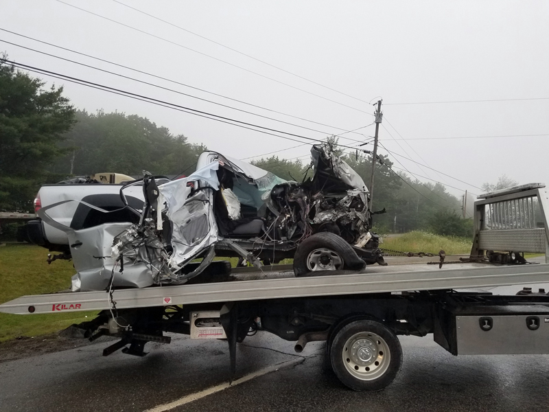 The remains of a 2011 Toyota Tacoma pickup truck after a head-on collision on Route 1 in Damariscotta on July 1, 2017.