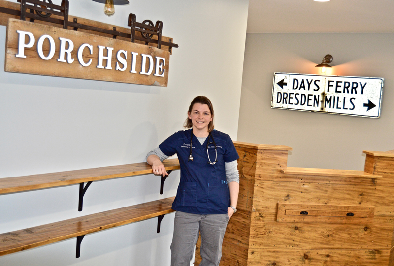 Veterinarian Dr. Susan Bailey stands ready to meet clients in her brand-new clinic, Porchside Veterinary Care, at 514 Gardiner Road in Dresden. (Greg Foster photo)