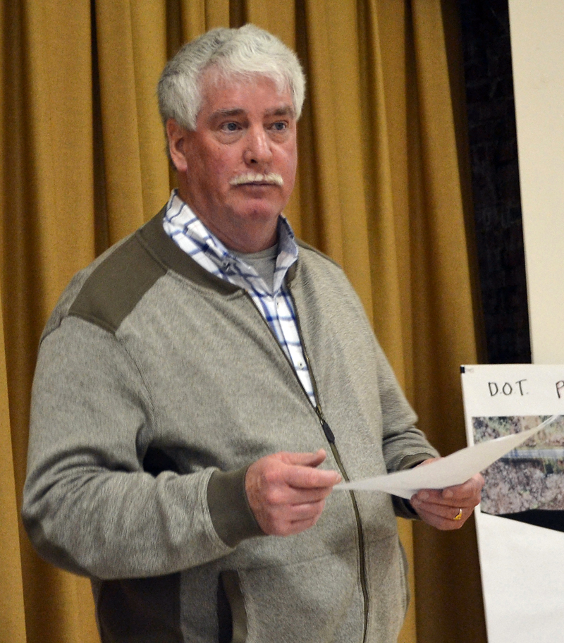 Edgecomb Budget Committee Chair Jack Brennan talks about the town's budget process during a forum at the town hall Monday, April 2. (Maia Zewert photo)