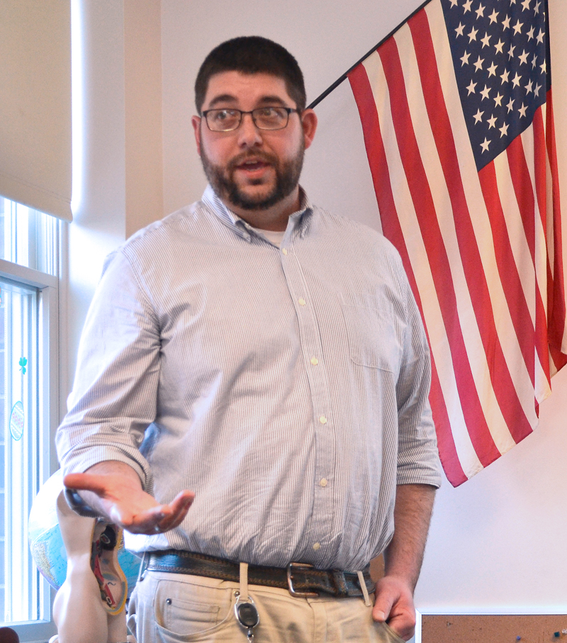 Edgecomb Eddy School Principal Ira Michaud talks about the school's enrollment during a presentation of Edgecomb's 2018-2019 education budget at the school Wednesday, March 28. (Maia Zewert photo)