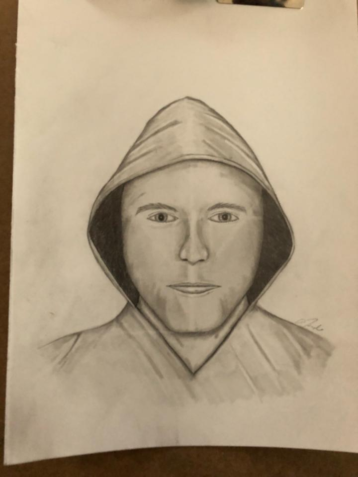 A sketch of the male suspect involved in a home invasion on Center Street in Nobleboro the morning of Monday, April 16.