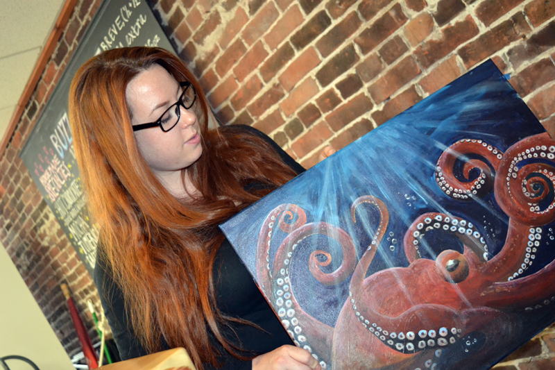 Samantha Merrill with her favorite painting. (Christine LaPado-Breglia photo)