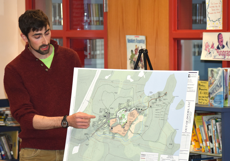 Matt Silverman, of Out of Doors LLC, discusses the revised general site plan for the proposed ecotourism destination. (Alexander Violo photo)
