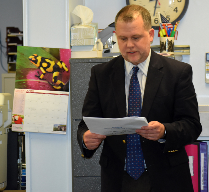 RSU 12 Superintendent Howard Tuttle discusses the school district's draft budget with the Somerville Board of Selectmen on Wednesday, April 4. (Alexander Violo photo)