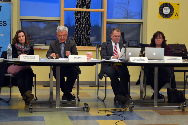 From left: RSU 12 Board of Directors Vice Chair Sandra Devaney, of Palermo; Board Chair Jerry Nault, of Windsor; Superintendent Howard Tuttle; and Administrative Assistant Leslie Burgess attend the board's meeting at Chelsea Elementary School on Thursday, April 12. (Christine LaPado-Breglia photo)