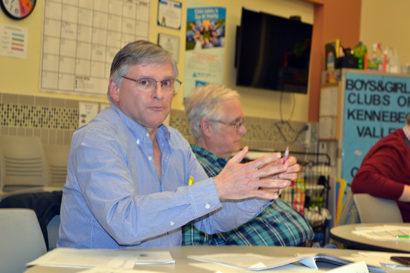From left: RSU 12 Board of Directors member Christopher Johnson, of Somerville, addresses the audience at the board's meeting Thursday, April 12 as board member Tom Birmingham, of Windsor, looks on. (Christine LaPado-Breglia photo)