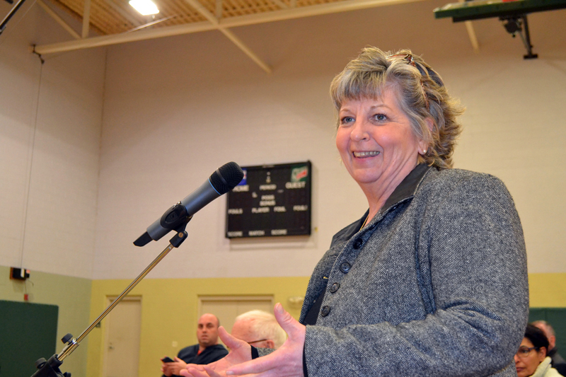 Wiscasset business owner Patty Averill tells attendees of the public hearing to be happy, as the town will get through the issue. (Charlotte Boynton photo)