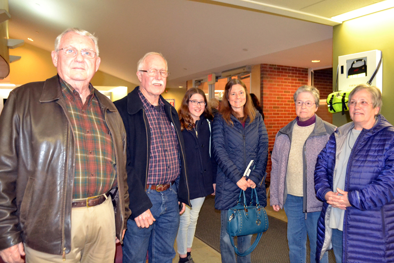 Members of the pro-Option 2 Wiscasset Thinks Forward coalition gather at the Wiscasset Community Center to hear the results of the referendum Tuesday, April 17. From left: Bill Maloney, Dick Zieg, Julie Truesdell, Tina Truesdell, Nancy Roby, and Judy Flanagan. (Charlotte Boynton photo)