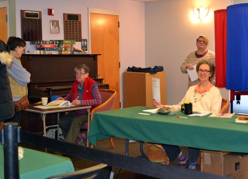 The Wiscasset Community Center was a busy place Tuesday, April 17, with a steady flow of voters throughout the day. A total of 881 votes were cast, including 230 absentee ballots. (Charlotte Boynton photo)