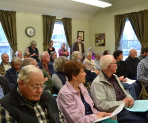 There was standing room only at the Wiscasset Board of Selectmen's meeting Tuesday, April 24, the first meeting after the vote to stop the town's lawsuit against the Maine Department of Transportation. (Charlotte Boynton photo)