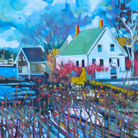 "Susan Bartlett Rice's 2018 ""House with Winter Docks,"" a 30-by-30-inch oil painting on canvas."