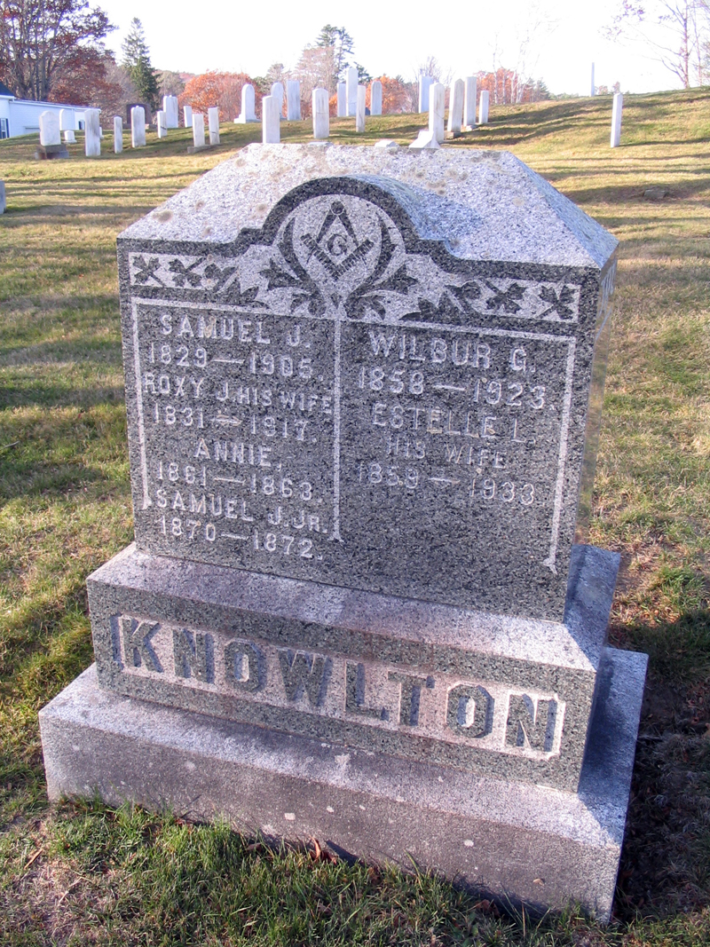 The gravestone of Samuel J. and Wilbur G. Knowlton.