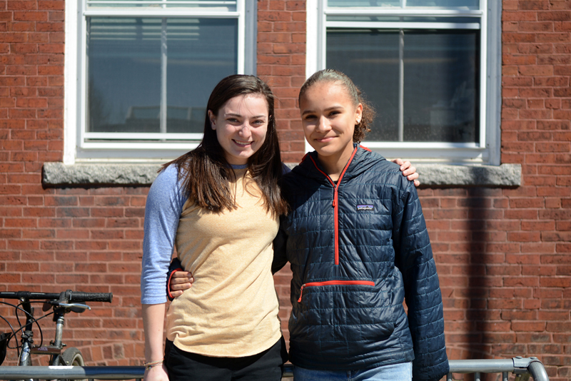 Incoming Lincoln Academy Student Body President Emily Harris (left) with her predecessor, senior Tahlia Mullen.